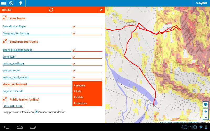 Die snowhow-freeride App mit tracks